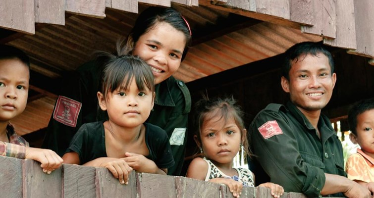 Deminers and their family, Cambodia, HALO Trust